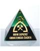 Těžítko – pyramida zelená abstrakt