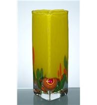 Hutní skleněná váza žlutá