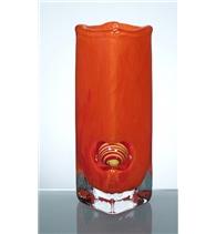 Hutní skleněná váza červená