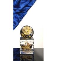 Atypická skleněná trofej žluto-černá 120 mm